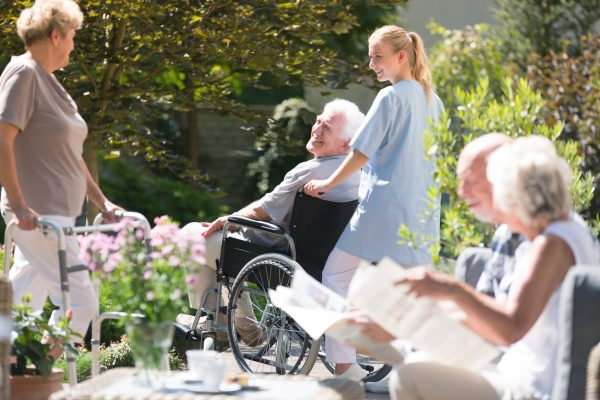 Nurse supporting senior man in wheelchair during meeting with friends in garden on sunny day